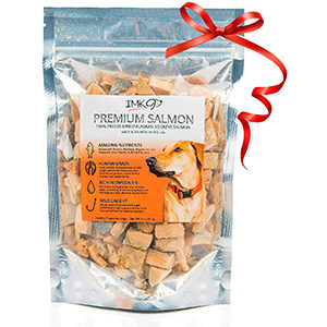 IMK9 All Natural Freeze Dried Salmon Dog Treats with Omega 3 and Omega 6 Fish Oil